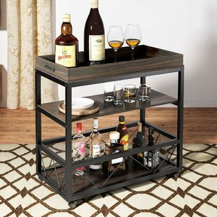 Toms 3-Tier Rustic Industrial Bar Cart