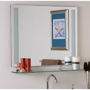 Frameless Wall Mirror with Shelf