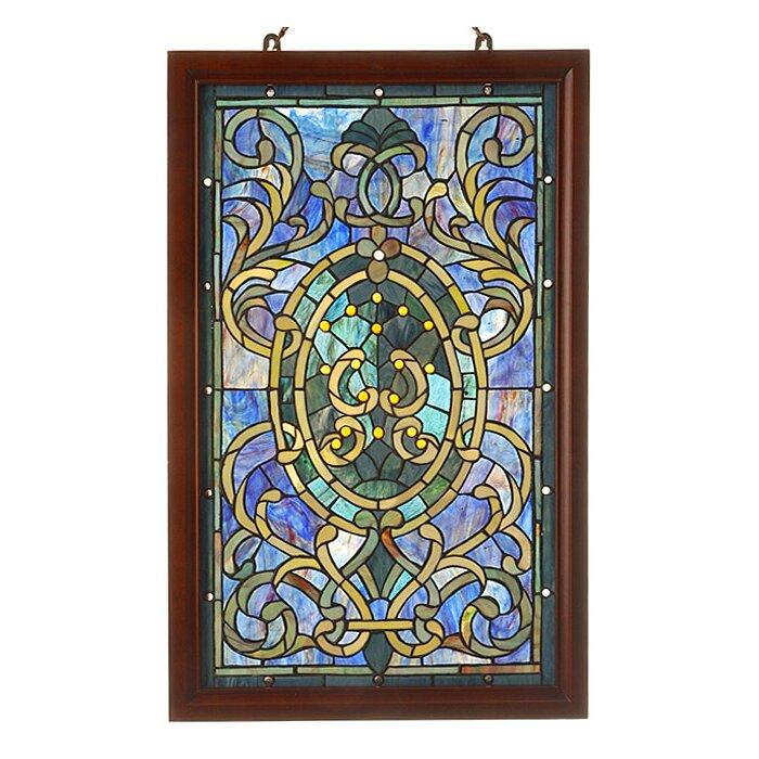 Wood Frame Stained Gl Window Panel