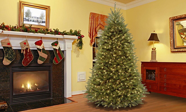 Beautiful Fir 7.5u0027 Hinged Artificial Christmas Tree With Lights