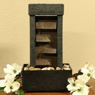 Bon Zumwalt Resin Tiered Shelves Lighted Tabletop Fountain With Light