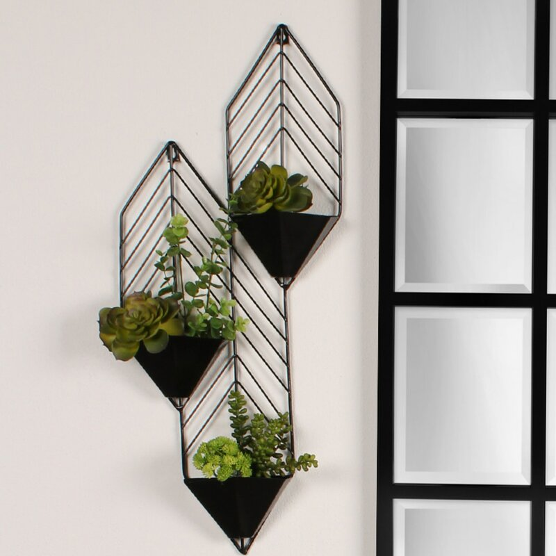 kate and laurel tain metal wall planter reviews wayfair. Black Bedroom Furniture Sets. Home Design Ideas