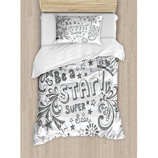 Be A Super Star Phrase On Notebook Paper Backdrop With Stars Crown Print Duvet Cover Set