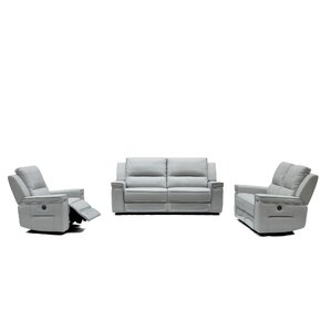 Colmar Leather 3 Piece Living Room Set by Orren Ellis