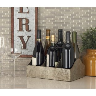 Hodapp Farmhouse Iron Rectangular 6 Bottle Tabletop Wine Rack