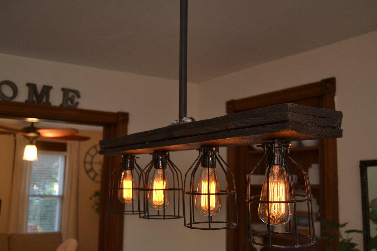 West Ninth Vintage Triple Wood 4 Light Kitchen Island