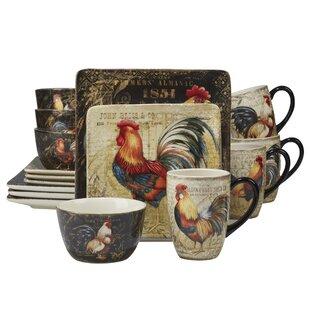 Friar Gilded Rooster 16 Piece Dinnerware Set Service for 4  sc 1 st  Wayfair & Tuscan Rooster Dinnerware Sets   Wayfair