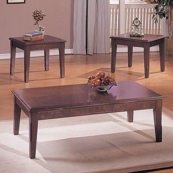 acme furniture chester merlot 3 piece coffee table set | wayfair