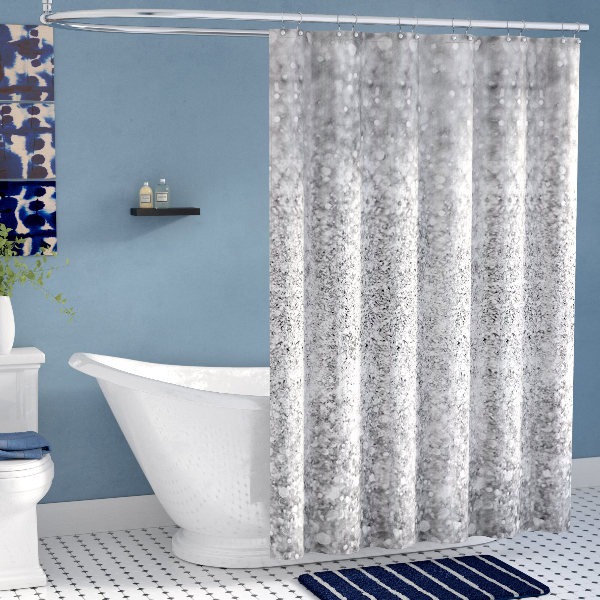 attached with swag throughout valance luxury shower curtains double new curtain