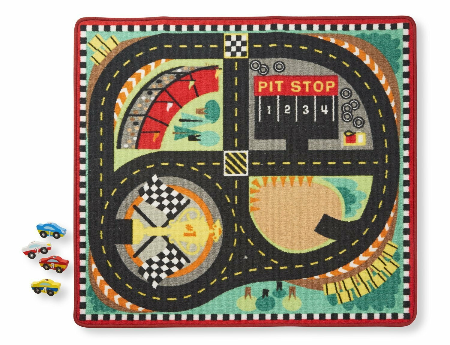 Melissa Doug Round The Sdway Race Track 5 Piece Floor Mat Set Reviews Wayfair