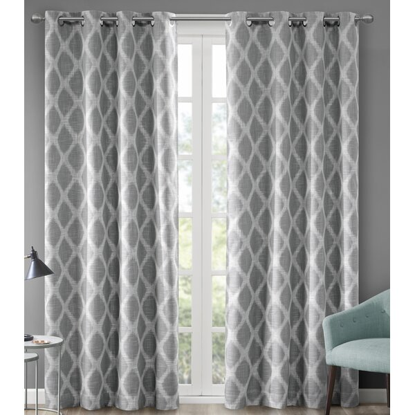 Ebern Designs Hutton Printed Ikat Blackout Single Curtain