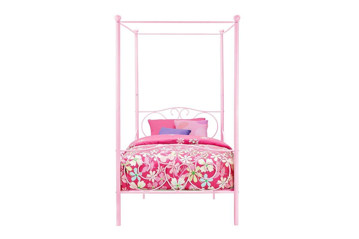 Brandon Twin Canopy Bed  sc 1 st  Wayfair & Zoomie Kids Brandon Twin Canopy Bed u0026 Reviews | Wayfair