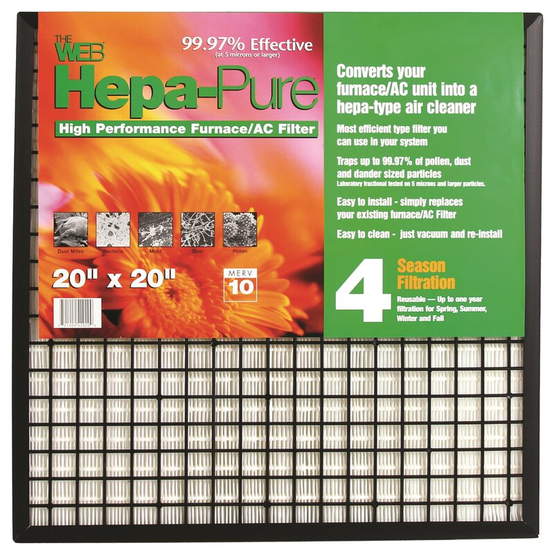 Hepa Ac Filter >> Hepa Pure High Performance Furnace Ac Air Conditioner Air Filter