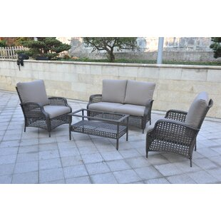 Cleghorn 4 Piece Rattan Sofa Seating Group With Cushions