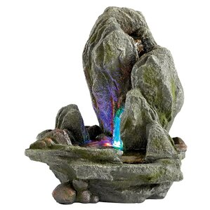 Resin Boulder Falls Cascading Tabletop Fountain With LED Light