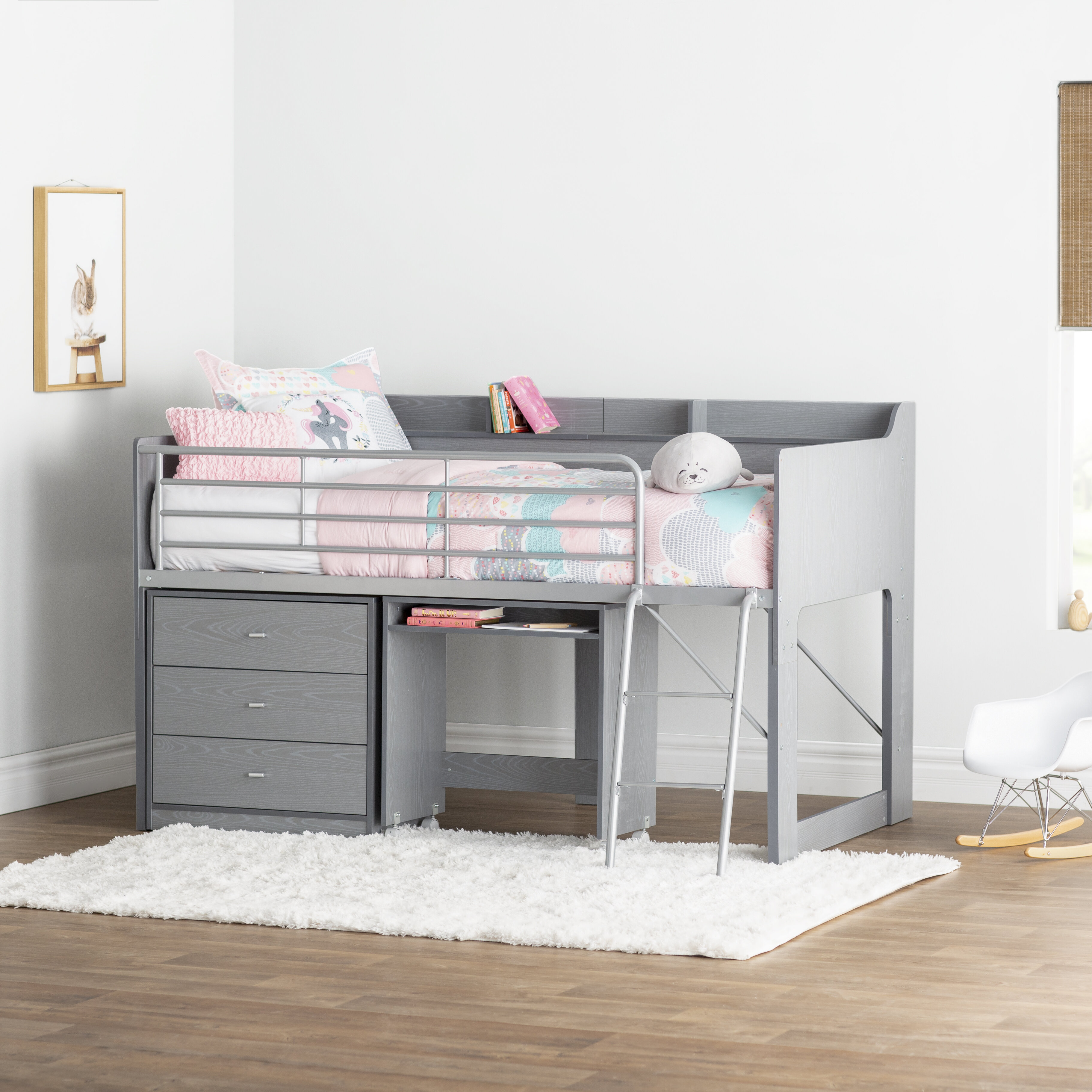 Tremendous Alcester Twin Low Loft Bed With Desk And Storage Home Interior And Landscaping Ponolsignezvosmurscom