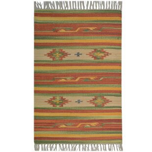 Country Handwoven Cotton Green/Light Brown/Beige Rug by Bakero