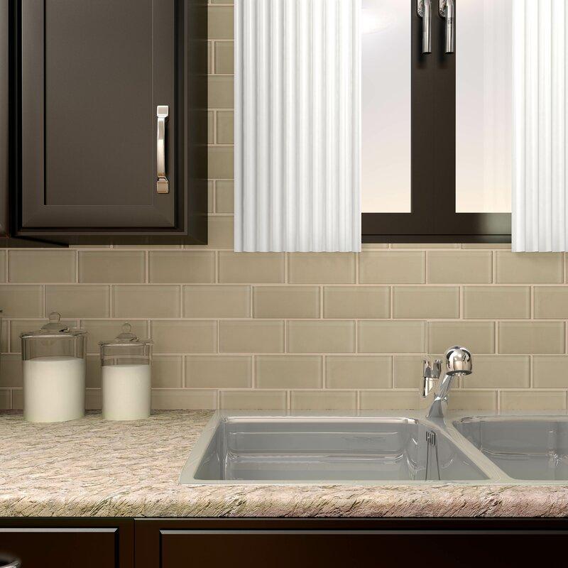 Elitetile Sierra 3 X 6 Glass Subway Tile In Sandstone Reviews