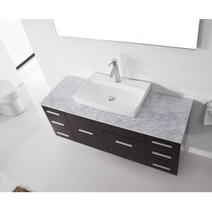 Ultra Modern Series 56 Single Bathroom Vanity Set with White Marble Top and Mirror