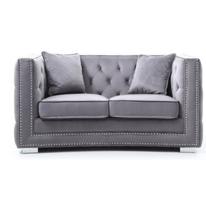 Smollin Chesterfield Loveseat by Everly Quinn