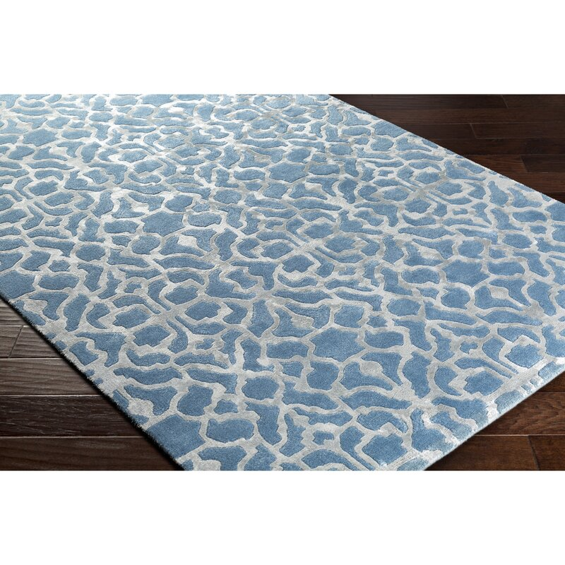 Alcott Hill Silvera Hand-Knotted Wool Bright Blue Area Rug, Size: Rectangle 8 x 10