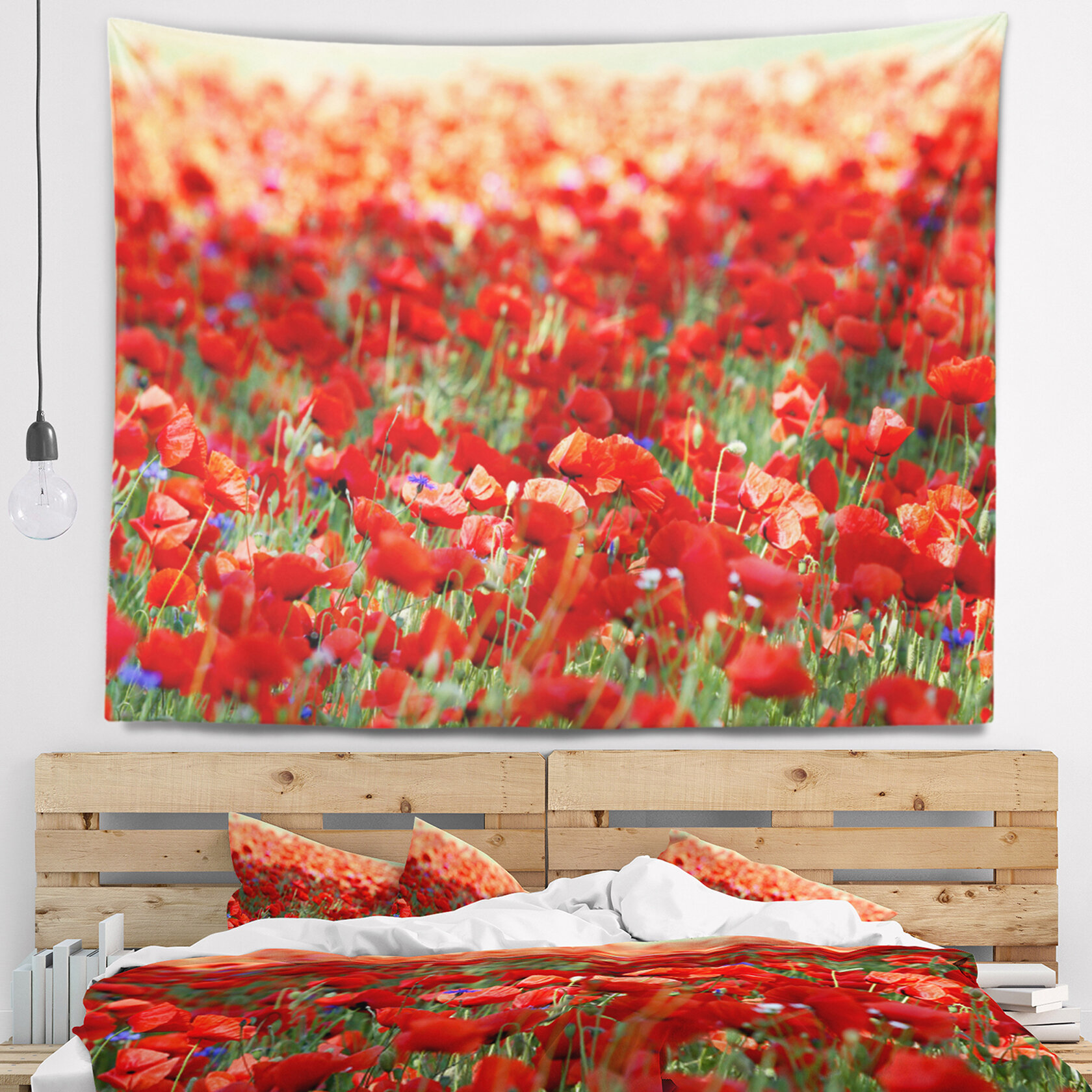 East Urban Home Thick Red Poppy Flower Field Tapestry And Wall