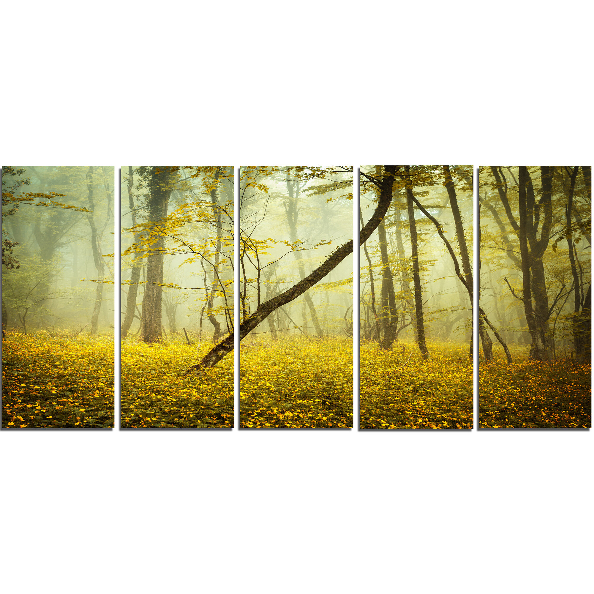 DesignArt Forest with Yellow Flowers 5 Piece Wall Art on Wrapped ...