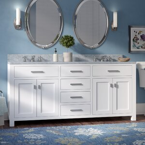 Raven 72″ Double Sink Bathroom Vanity Set with Rectangular Sink