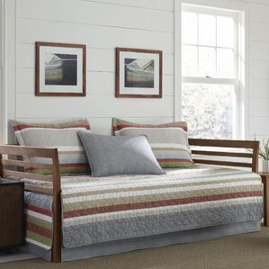 Salmon Ladder Stripe 100 Cotton 5 Piece Reversible Daybed Set