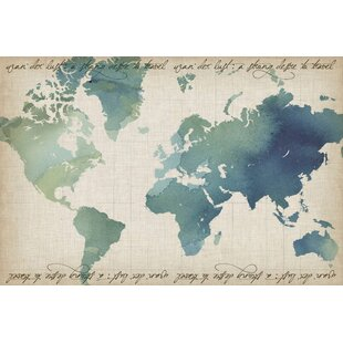Watercolor world map canvas wayfair watercolor world map painting print on wrapped canvas gumiabroncs Gallery