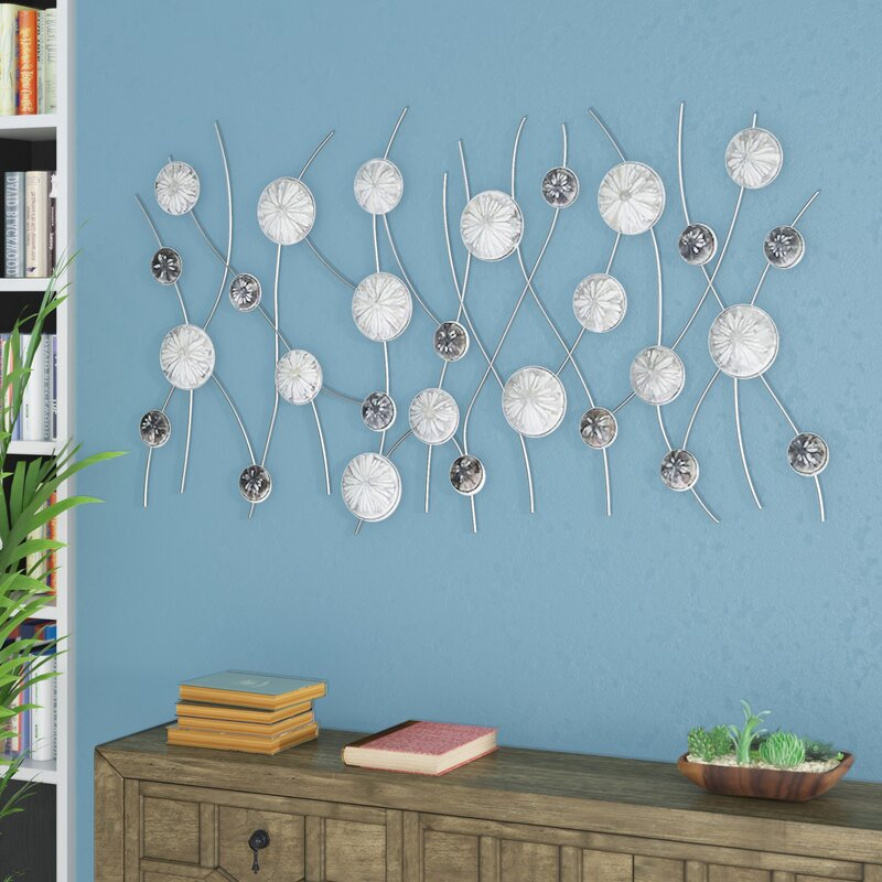 Bloomsbury Market Silver and Black Metal Floral Wall Décor | Wayfair