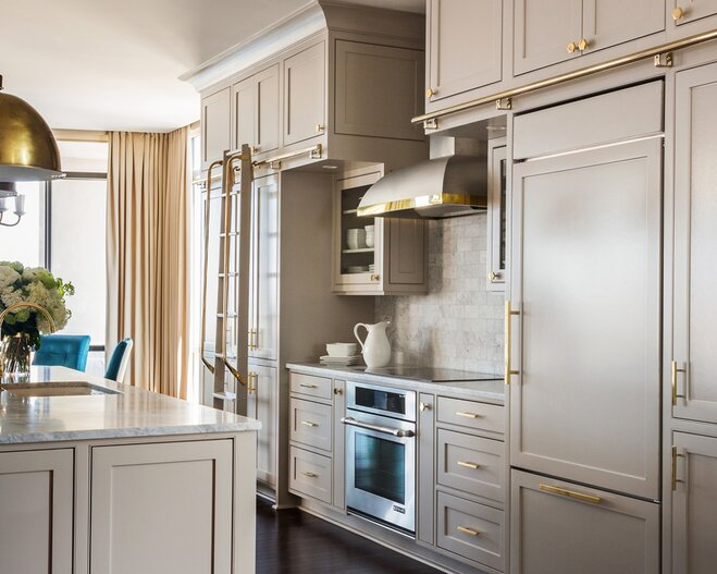 Grey Painted Kitchen Cabinets With Gold S And Pulls