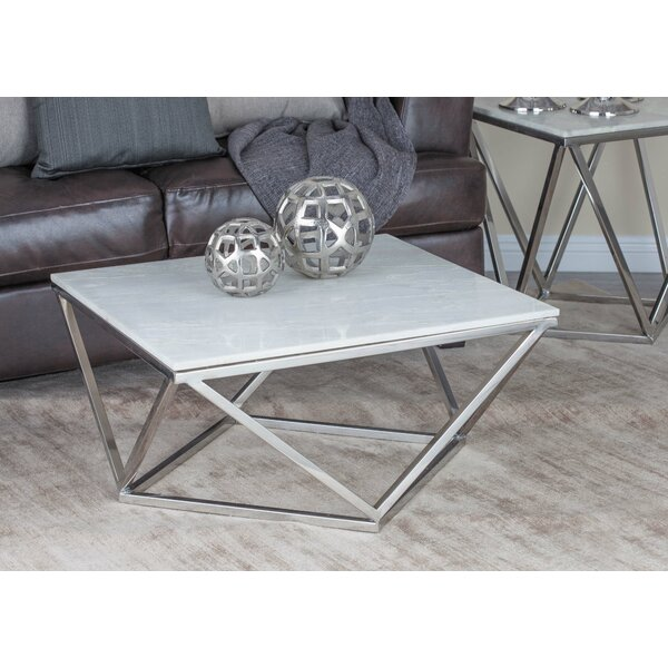 Square Coffee Table Marble Top: Cole & Grey Stainless Steel/Marble Square Coffee Table