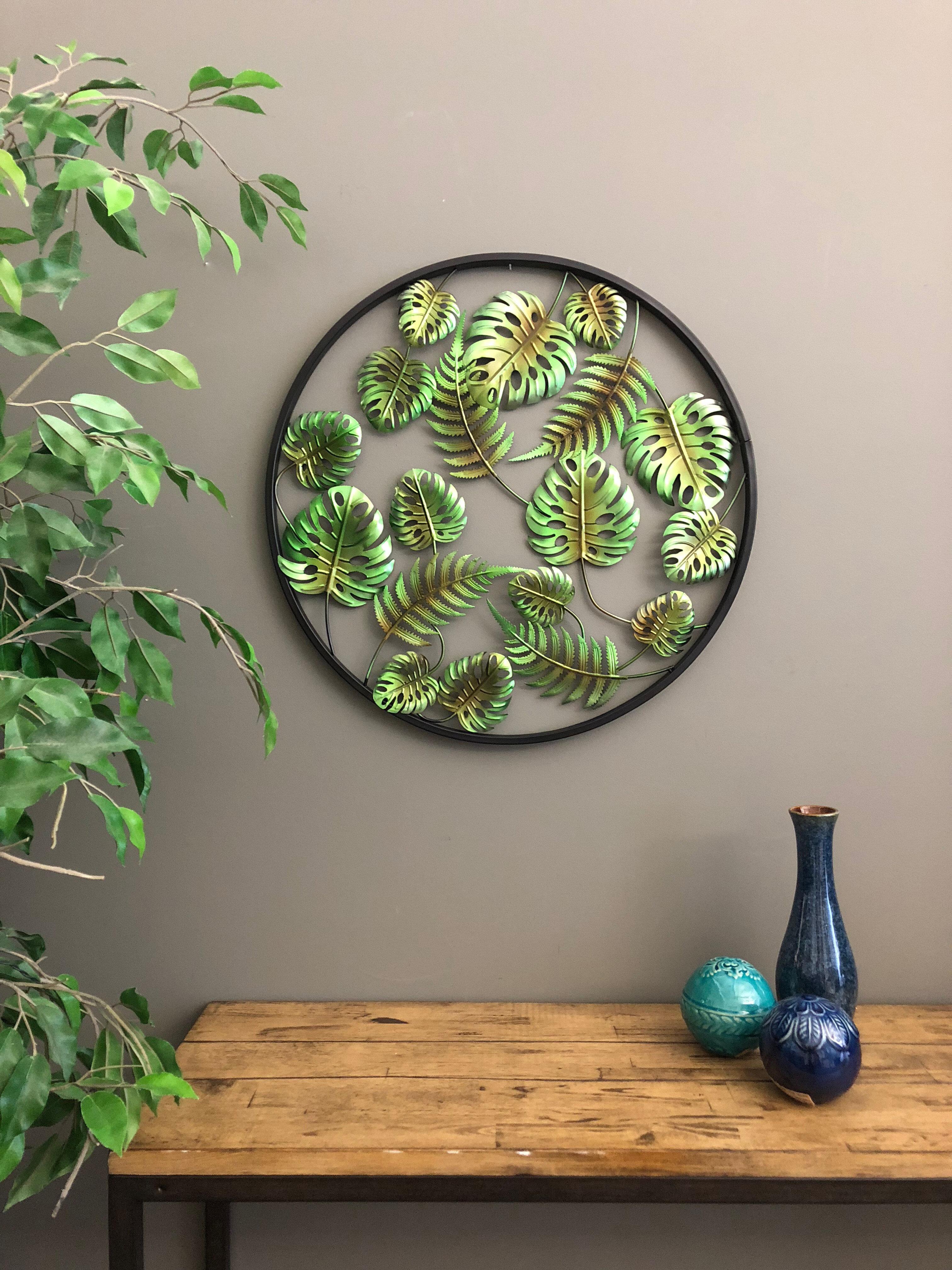 Bay Isle Home Metal Circle 3 Dimensional Palm Leaves Tropical Wall Décor U0026  Reviews | Wayfair