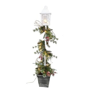 5 glitter lamp post floor cedar topiary in pot - Christmas Lamp Post Decoration