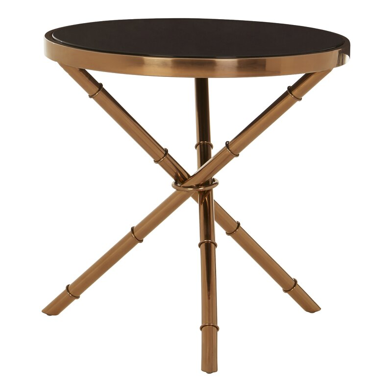 Alvaro Round Side Table Black Tempered Gl Rose Gold Frame