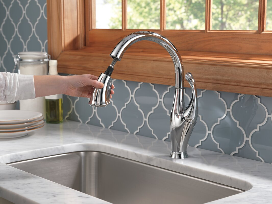Addison Kitchen Faucet | Delta Addison Pull Down Single Handle Kitchen Faucet With Diamond