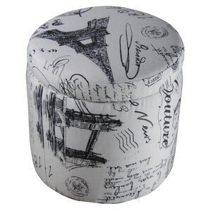 Paris Vintage French Writing Storage Ottoman..
