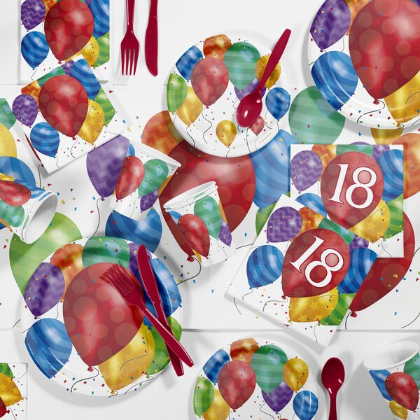 Creative Converting Balloon Blast 18th Birthday Party Paper Plastic Supplies Kit