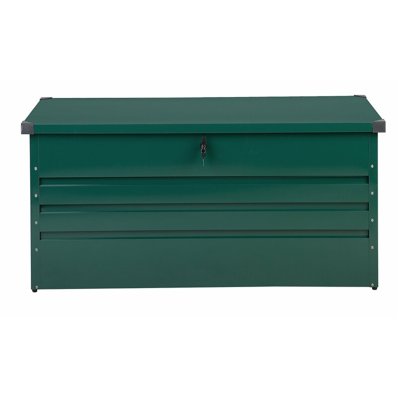 Beliani Cebrosa Outdoor 105 Gallon Metal Deck Box  Color: Green