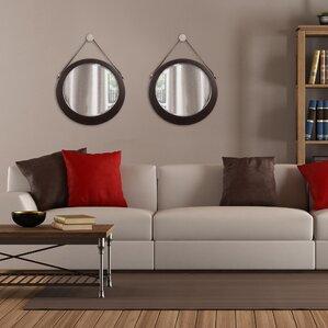 Round Mirror Leather Strap | Wayfair Part 64