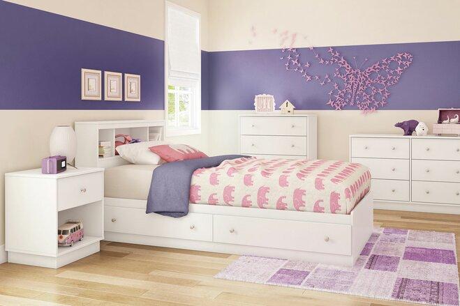Pink, purple, white girls' bedroom