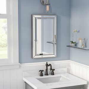 small bathroom mirrors. Goodman Beaded 16  x 26 Recessed Medicine Cabinet Bathroom Mirrors You ll Love Wayfair