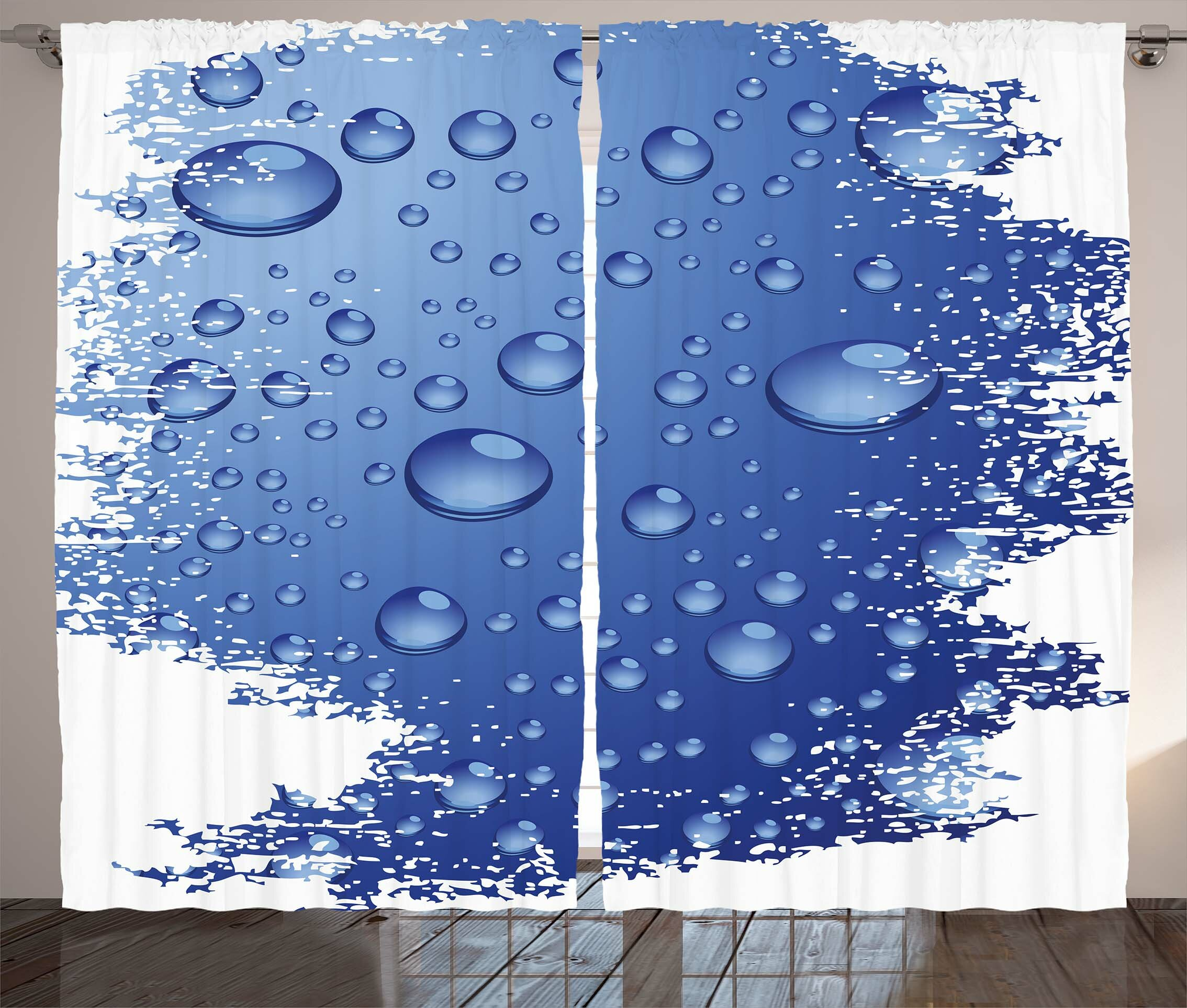 Grunge Wet Surface Inspired Bubble Water Rain Drop Crystals Freshness  Symbol Artsy Design Graphic Print & Text Semi-Sheer Rod Pocket Curtain  Panels