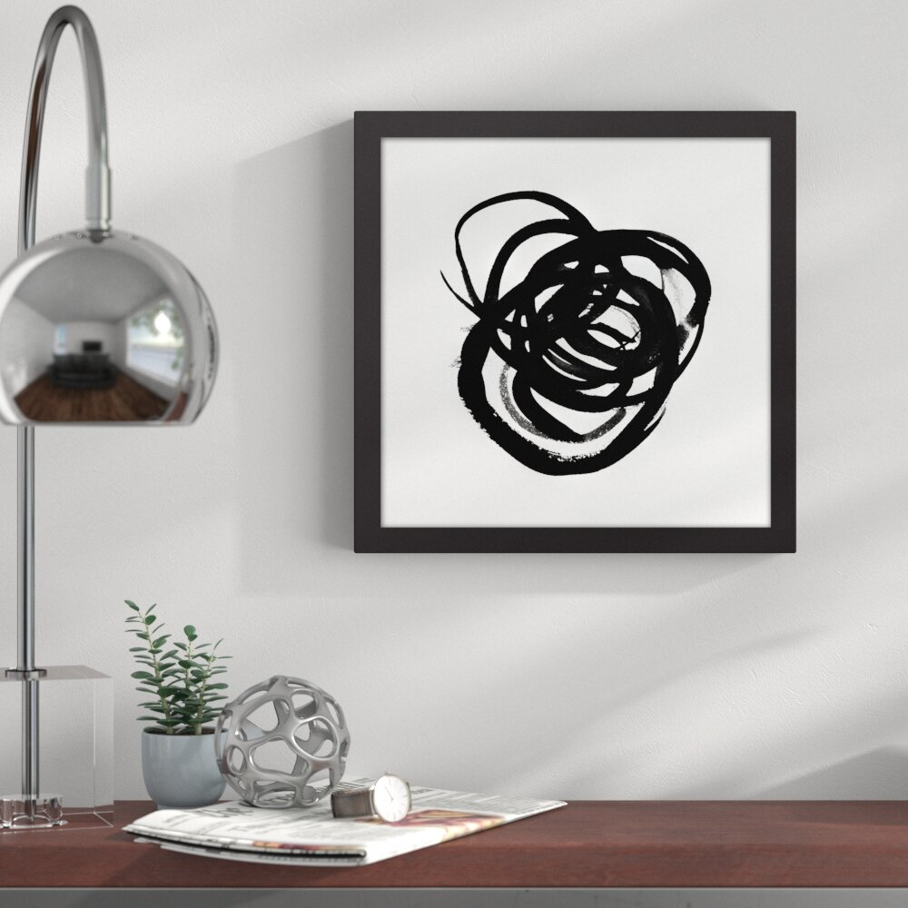 Endurance black and white abstract framed graphic art print on canvas