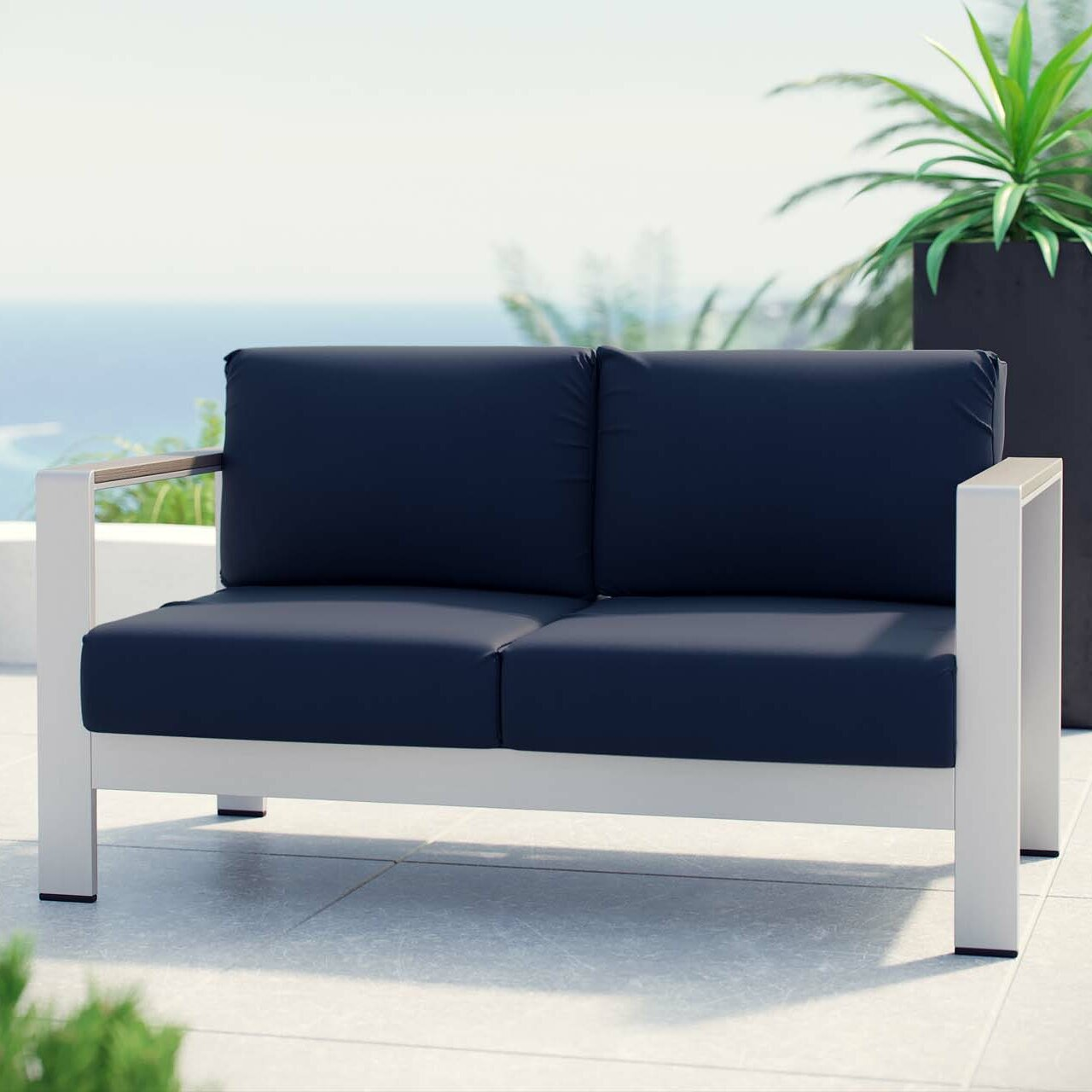 Exceptionnel Orren Ellis Coline Outdoor Patio Aluminum Loveseat With Cushions | Wayfair