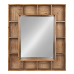 rustic wood mirror tall gretel rustic wood cubby framed wall storage accent mirror mirrors youll love wayfair