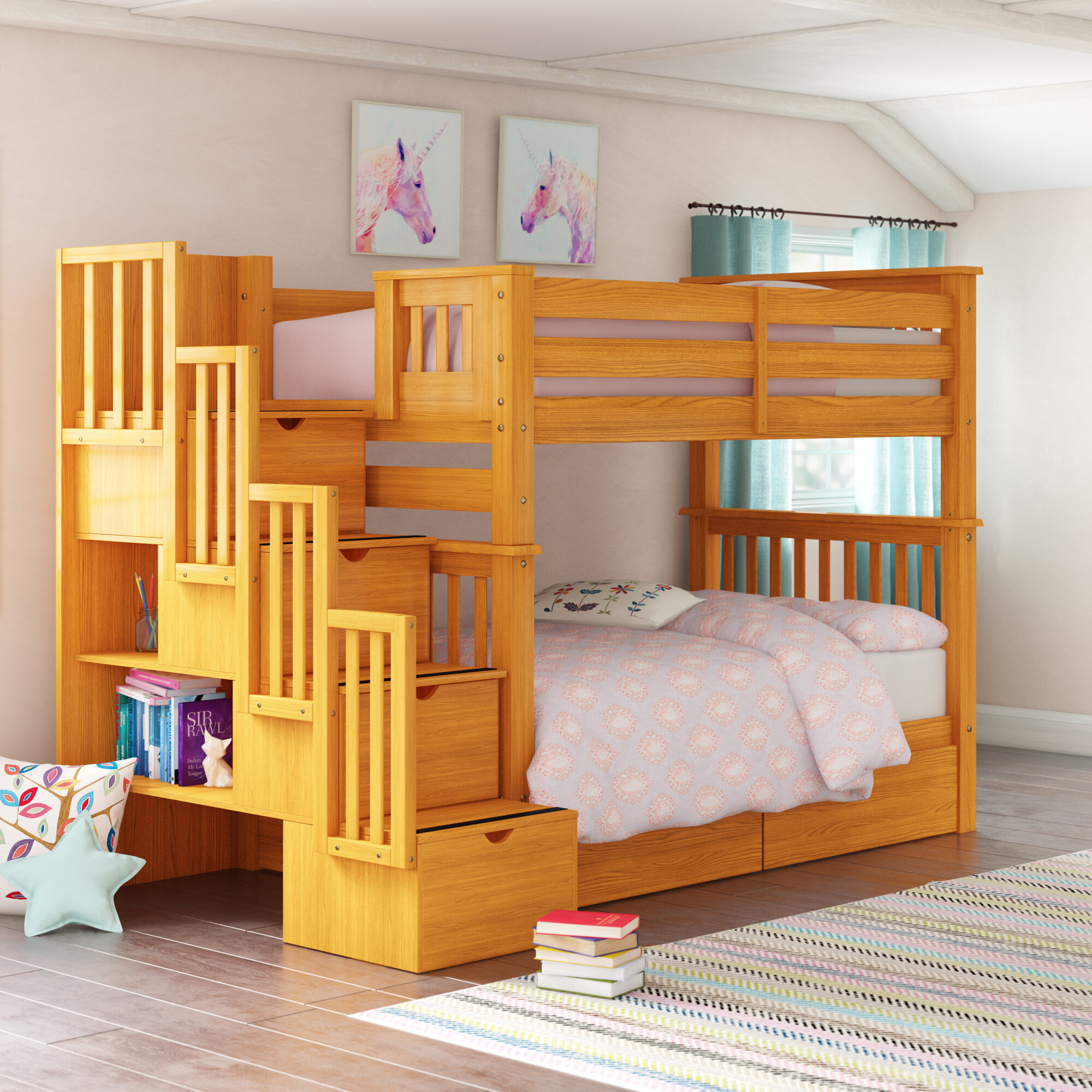 Picture of: Harriet Bee Tena Tall Twin Over Twin Stairway Bunk Bed With Drawers Reviews Wayfair