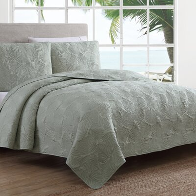 Estate Leaf Stitch Ii Quilt Set American Home Fashion Size: Twin, Color: Green