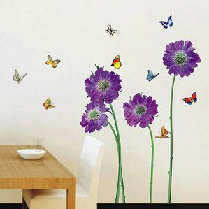purple flower wall decal - Wall Decals